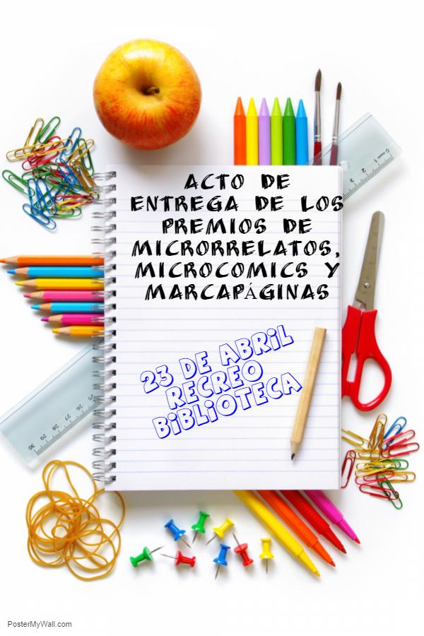 Imagen de la noticia: Acto de entrega de los Premios de Microrrelatos, Microcomics y Marcapáginas