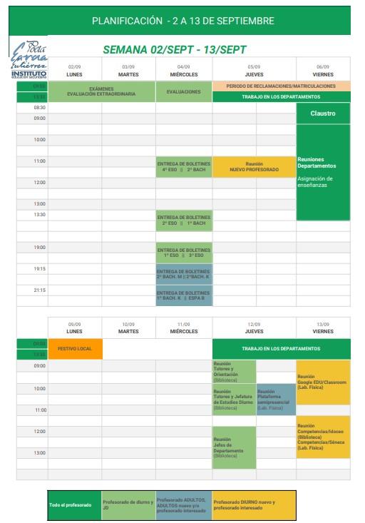 Imagen de la noticia: Planificación de las dos primeras semanas de septiembre (borrador) [Actualizado]
