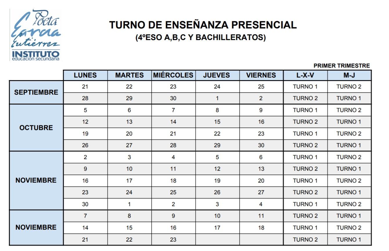 Imagen de la noticia: Turno de presencialidad de los grupos de Bachillerato y 4º ESO A, B  y C
