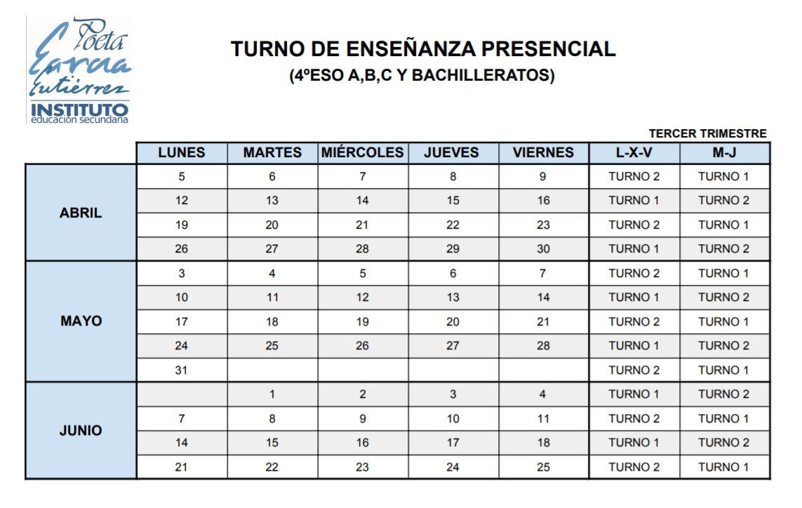 Imagen de la noticia: Turno de presencialidad para los grupos de bachillerato y 4º ESO A, B y C para la tercera evaluación. [Actualizado]
