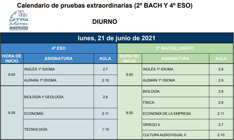 Imagen de la noticia: Calendario de pruebas extraordinarias - 2ºBACH y 4ºESO [DIURNO] - 21 y 22 de junio