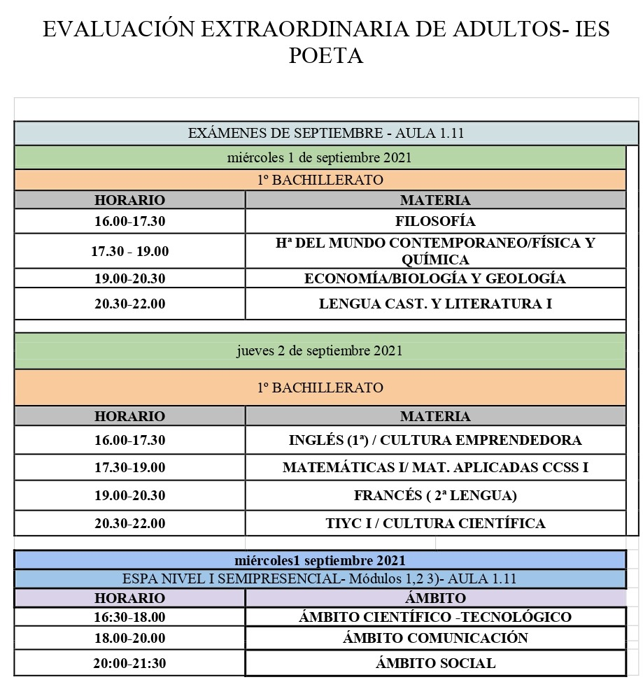 Imagen de la noticia: ADULTOS- Exámenes de septiembre de 1º Bachillerato y ESPA I