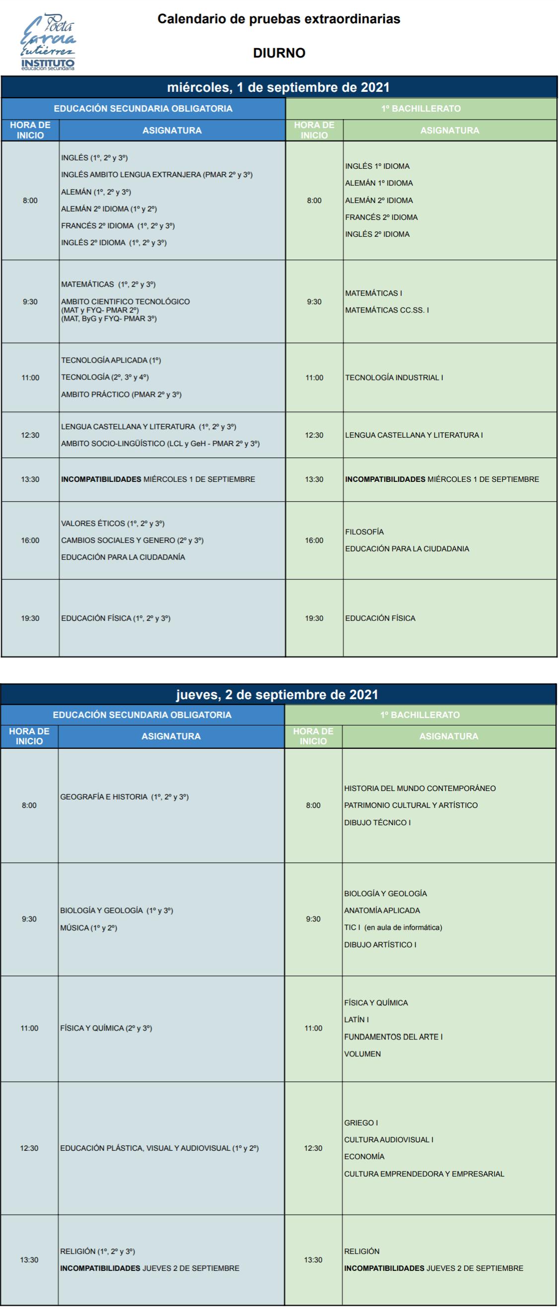 Imagen de la noticia: Calendario para las pruebas extraordinarias de septiembre 2020-2021. [Diurno]