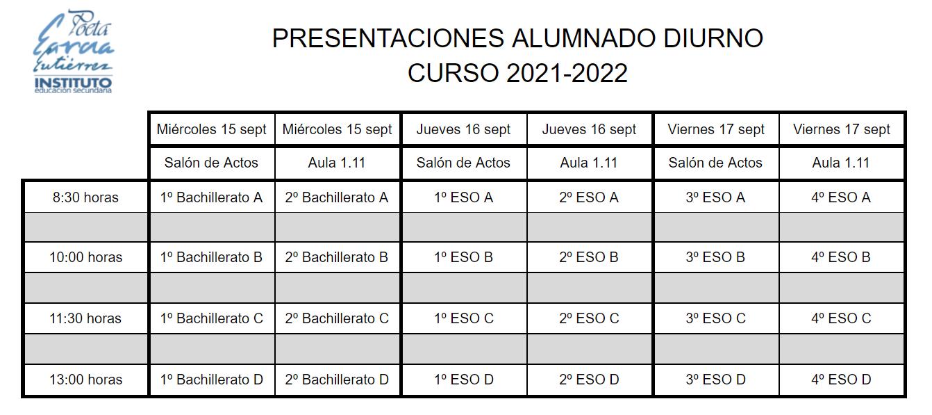 Imagen de la noticia: Presentación alumnado diurno - Curso 2021/2022